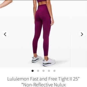 Maroon/purple Lululemon fat & free leggings- size8
